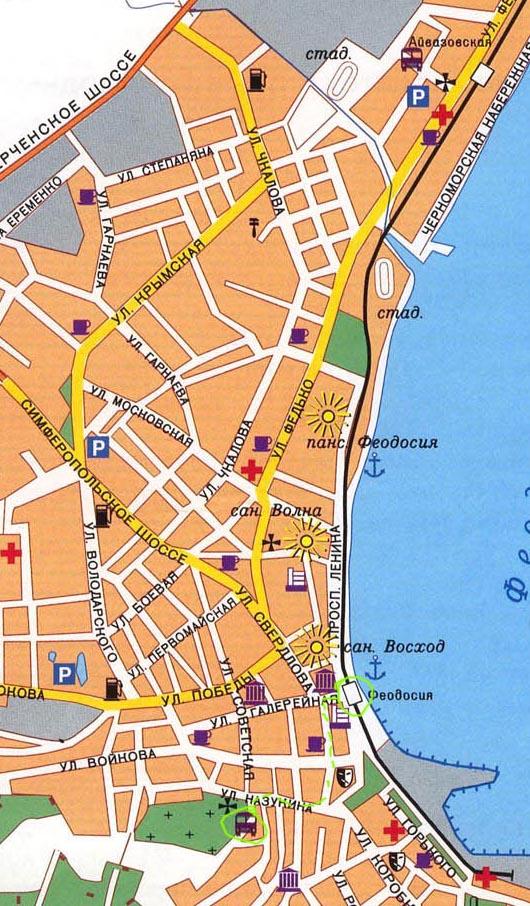 карта прохода к маршруткам на Коктебель в Феодосии