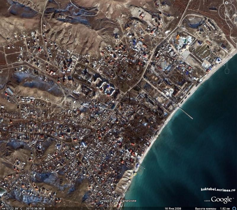 Смотреть на Коктебель из космоса (koktebel.ecrimea.ru/karta).  Наконец-то обновились карты гугл в районе Коктебеля.