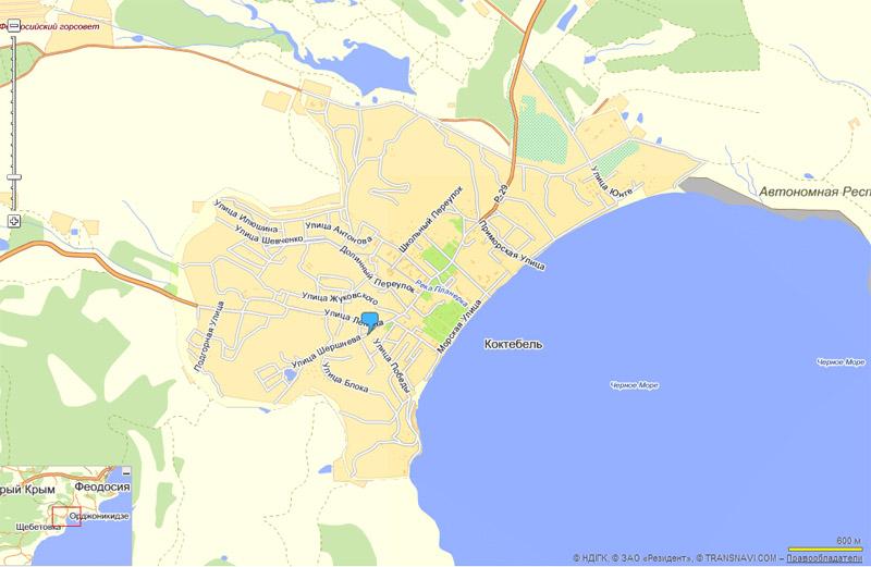 подробная карта Коктебеля на
